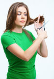 Woman hair style fashion portrait. isolated on whi Royalty Free Stock Images