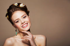 Woman hair style fashion portrait. make up female face. Stock Photography