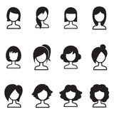 Woman hair style icons  symbol iIllustration Royalty Free Stock Photos