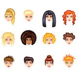 Woman hair style vector set Stock Images