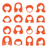 Woman hair styles, wigs icons - ginger Stock Photography