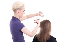 Woman hair stylist doing haircut to client isolated on white Stock Photography