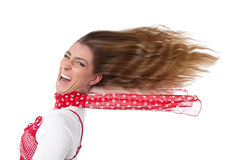 Woman with hair in wind. Happy woman in summer - hair in wind - isolated on white stock photos