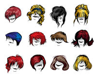 Woman haircut styles. Set of Woman haircut styles isolated on white background Stock Photography