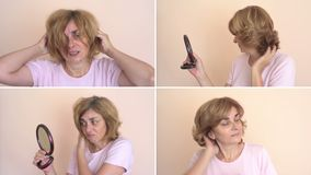 Woman before and after hairdo stock video footage