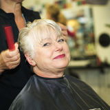 Woman and hairdresser Stock Images