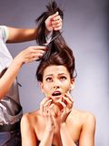 Woman at hairdresser. Royalty Free Stock Photos