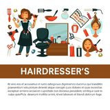 Hairdresser beauty salon vector flat poster woman hair coloring and styling equipment icons. Woman hairdresser beauty salon poster flat design for hair coloring Stock Photos