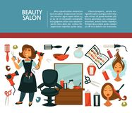 Woman hairdresser beauty salon poster flat design for hair coloring and styling. Vector icons of professional coiffeur color dye, hairbrush comb, colorant and Stock Photo