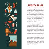 Woman hairdresser beauty salon poster flat design for hair coloring and styling. Vector icons of professional coiffeur color dye, hairbrush comb, colorant and Royalty Free Stock Photography