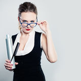 Woman Hairdresser with Comb and Hair Spray stock images