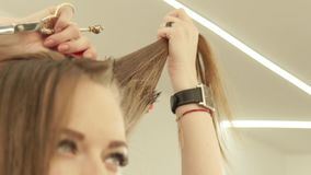 Woman hairdresser combing strand hair with hairbrush during cutting in beauty salon. Close up hairdresser making female stock video
