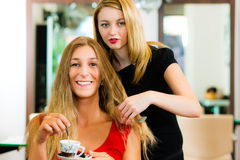 Woman at the hairdresser getting advise. On her hair styling, the girls are drinking Cappuccino stock image