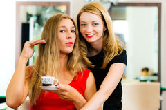 Woman at the hairdresser getting advise. On her hair styling, the girls are drinking Cappuccino royalty free stock image