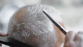 Woman hairdresser uses scissors for cutting gray-haired man. Barber using scissors to cut a man`s hair. Close-up, slow-motion stock video footage