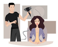 Woman at hairdresser Stock Images