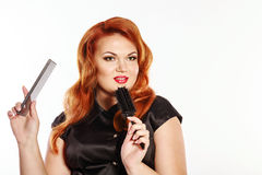 Woman hairdresser Royalty Free Stock Images