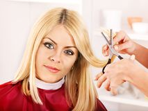 Woman in hairdressing salon. Stock Photography