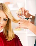 Woman in hairdressing salon. Royalty Free Stock Image
