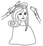 Woman in hairdressing salon - doodle Illustration Royalty Free Stock Photos