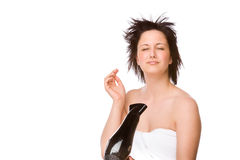 Woman with hairdryer Royalty Free Stock Image