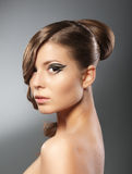 Woman with hairstyle stock photo