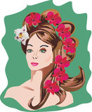 Woman hairstyle and flowers Royalty Free Stock Photos