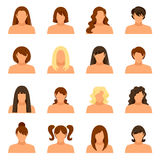 Woman Hairstyle Icons Set Stock Photography