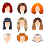 Woman hairstyle icons vector set Stock Photography