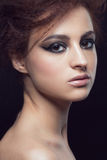Woman with hairstyle and makeup Royalty Free Stock Photography