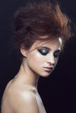 Woman with hairstyle and makeup Royalty Free Stock Photo