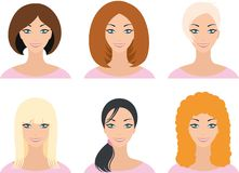 A woman with a hairstyle. Woman's face with different hairstyles, illustration Stock Photo