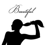 Woman and hairstyle silhouette. Woman holding hair by hand. Girls silhouette flat icon illustration. Hairdressing salon concept Royalty Free Stock Photography