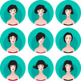 Woman hairstyle silhouette set. Vector set of nine fashion femine silhouette bobbed hairstyle. Woman icon avatar collection Stock Image
