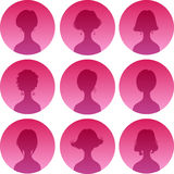 Woman hairstyle silhouette set. Vector set of nine fashion femine silhouette bobbed hairstyle. Woman icon avatar collection Stock Photography