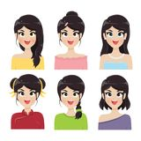 Woman 6 hairstyles. On white background vector illustration