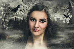 Woman halloween make up royalty free stock photos