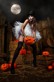 Woman with halloween pumpkin Stock Photos