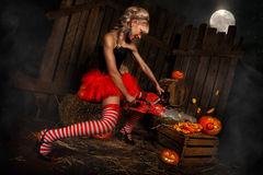 Woman with halloween pumpkin Royalty Free Stock Photo