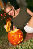 Woman With Halloween Pumpkin Lantern Stock Image
