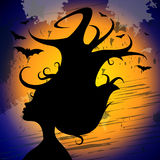 Woman Halloween Shows Trick Or Treat And Adult Royalty Free Stock Images