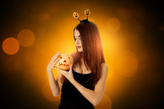 Woman in halloween style clothes Stock Image