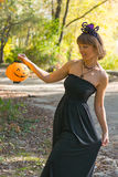 Woman in Halloween style Royalty Free Stock Photos