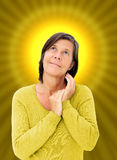 Woman with a halo Stock Images