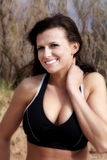 Woman in halter top close Stock Photography