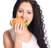 Woman with hamburger Stock Photo