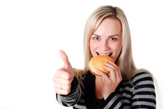 Woman with hamburger Stock Photos