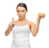 Woman with hamburger Royalty Free Stock Photography