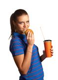 Woman with hamburger and soda Royalty Free Stock Photos