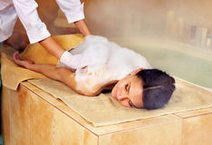 Woman in hammam or turkish bath. Young woman in hammam or turkish bath Royalty Free Stock Photography